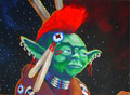 'If Yoda Was An Indian . . . '  Weapons of Mass Media, acrylic on canvas