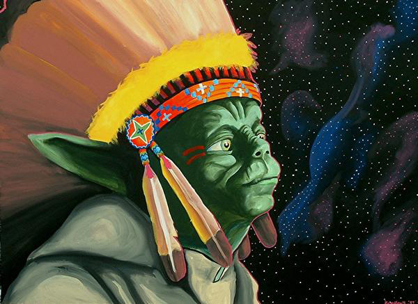 'If Yoda Was An Indian, He'd Be Chief' Weapons of Mass Media,  acrylic on canvas