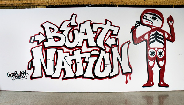 Beat Nation mural, onsite spray paint mural SAW Gallery Ottawa ON, dimensions variable, 2009