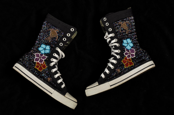 Neskonlith Beaded Shoes, custom beads and canvas sneakers, 2007