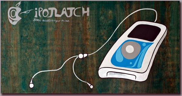 iPotlatch v1: 5000 ancestors in your pocket, Acrylic on panel, 4'x2', 2006,