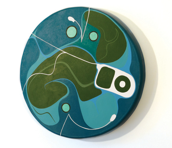 iDrum Personal Totems 1, acrylic on cow hide, 20 inches diameter, 2008